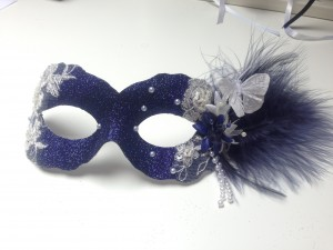 midnight blue vintage style mask with butterfly
