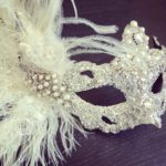 101. Bridal Pearl & Silver Peacock Feather FMasquerade Mask
