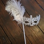 6. Bridal White filigree stick mask