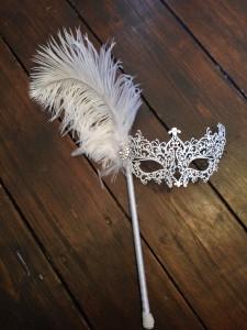 6. Bridal White filigree stick mask