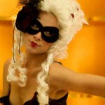 Custom petite black & burgundy taffeta masquerade mask - image by Alan Harbord