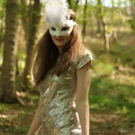 White Venetian Bird Mask with Ostrich Feather, photo by Tanith Harvey-Smith
