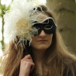 Vintage Black & Cream Masquerade Mask with Swarovsi Pearls & Ostrich flu Stick Mask