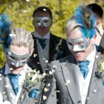 13. Couple's Matching silver Peacock Wedding Masquerade Masks