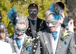 13. Couple's Matching silver Peacock Wedding Masquerade Masks