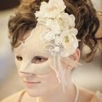 Champagne Gold Floral Bridal Wedding Mask