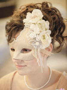 Champagne Gold Floral Bridal Wedding Mask