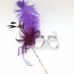 Silver & Purple Masquerade Stick Mask