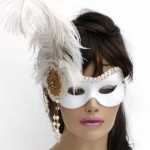 Timeless Mask vintage gold & white feather masquerade mask