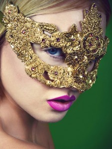 Luxury Gold & Pink Baroque Jewelled Venetian Masquerade Mask - image by Tory Smith