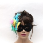 Black mask with pastel butterflies and feathers