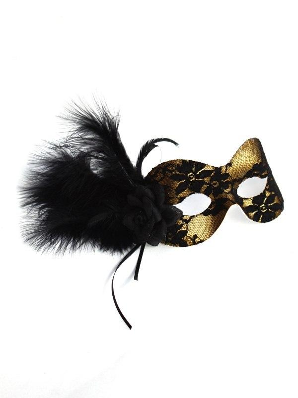 Black & Gold Lace Eye Mask b