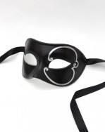 Mens Black Venetian Mask with silver design