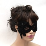 Gothic Black Beaded Lace Mask