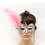 Bollywood Pink Crystal & Silver Feather Masquerade Mask