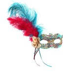Arabian Night turquoise, cerise & gold luxury beaded venetian mask