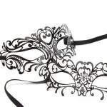His & Hers Couples Masks, Venetian black lace metal filigree laser cut masquerade masks