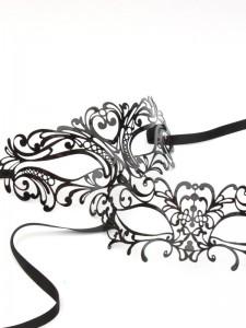 His & Hers Couples Masks, Venetian black lace metal filigree laser cut masquerade masks