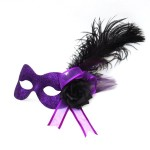 Purple sparkle masquerade mask with black rose & black feather