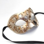 mens paper venetian silver bronze mask with black, white & grey diamonds