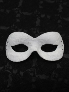 A Cinderella Story style white lace & crystal masquerade Mask