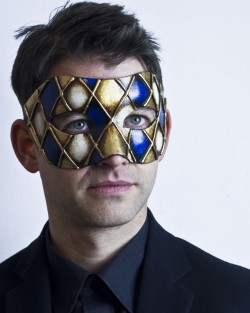mens blue & gold harlequin venetian ball mask