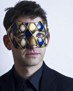 mens blue & gold harlequin venetian ball mask