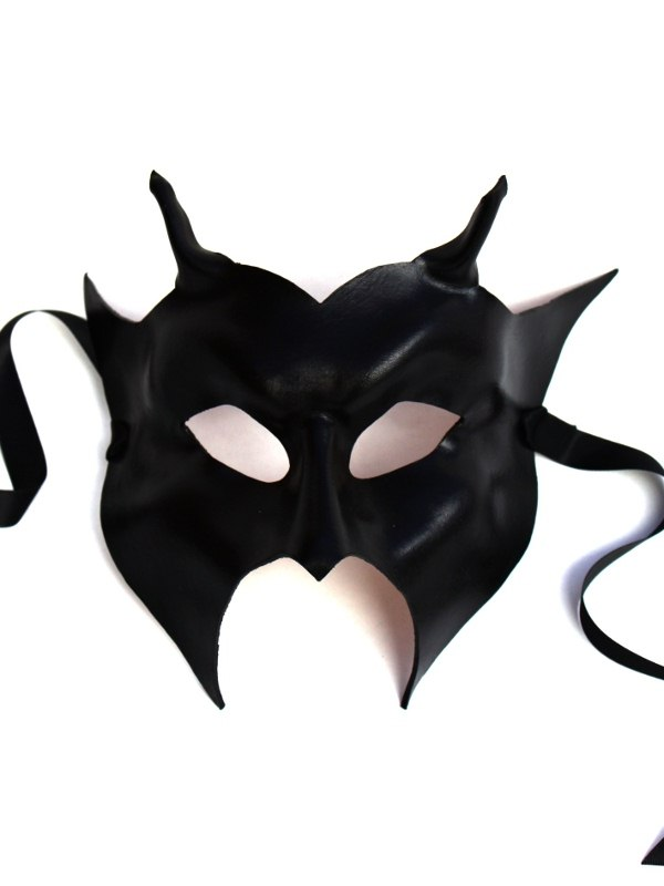 black leather devil masquerade mask