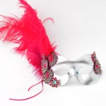 Silver, Hot pink & Tropical Masquerade Mask
