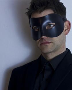 mens sexy black leather erotic fetish mask