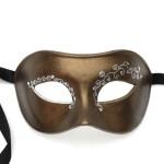 Mens Bronz & SilverLuxury Crystal Swirl Venetian Mask