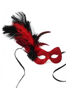 Red & Black Feather Flame Masked Ball Masquerade Mask