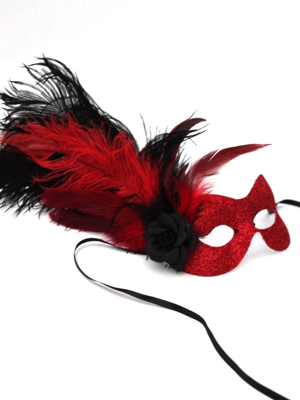 Women's Red & Black Flame Glitter Masquerade Eye Mask