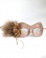 Soft Beige Gold glitter masquerade mask