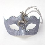 Venetian Silver Diamante Dragon Masked Ball Mask