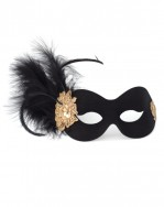 Black Italian Masquerade Ball Mask with Gold Lace