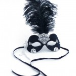 Black Ostrich Feather & Ivory Lace Masquerade Mask