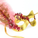 Gold and Pink Blossom Masquerade Mask