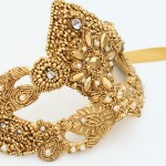 Luxury Gold Pearl Baroque Venetian Mask
