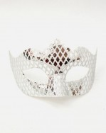 Womens Silver Venetian Mirror Mask