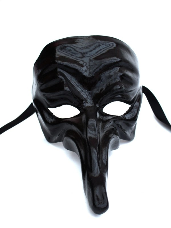 Black Gloss Long Nose Venetian Mask
