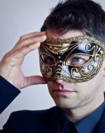 Black & Gold Musica Venetian Mask Model Shot
