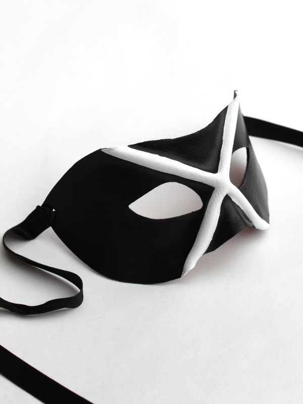 Black & White Venetian Leather Mask Made in Chelsea