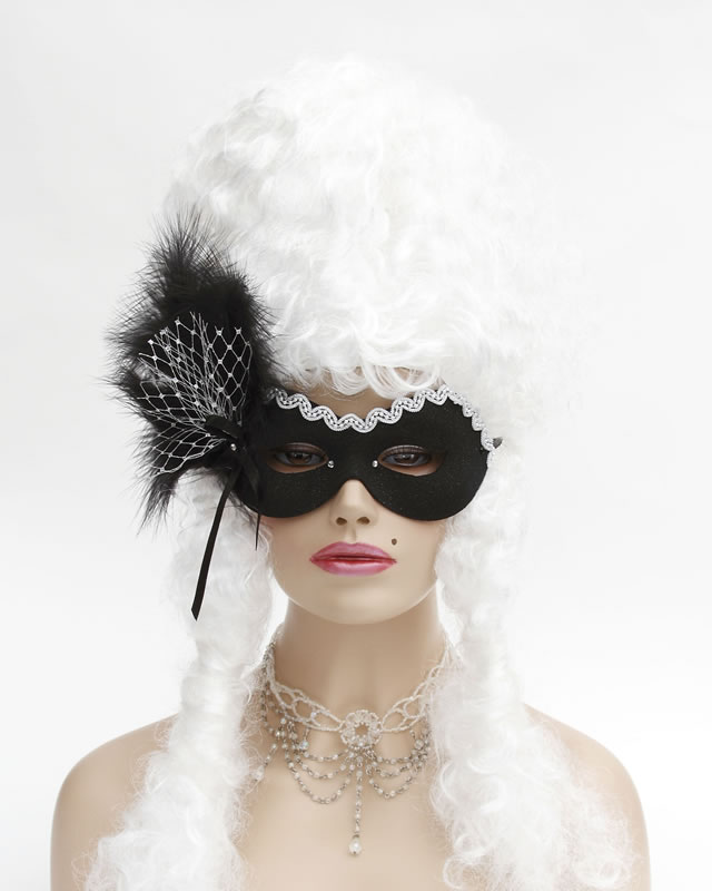 Silver & Black Net Bow Masquerade Eye Mask