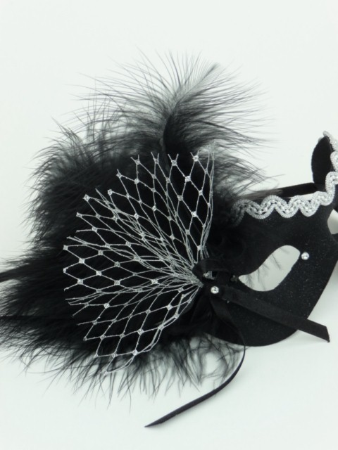 Silver & Black Net Bow Mask
