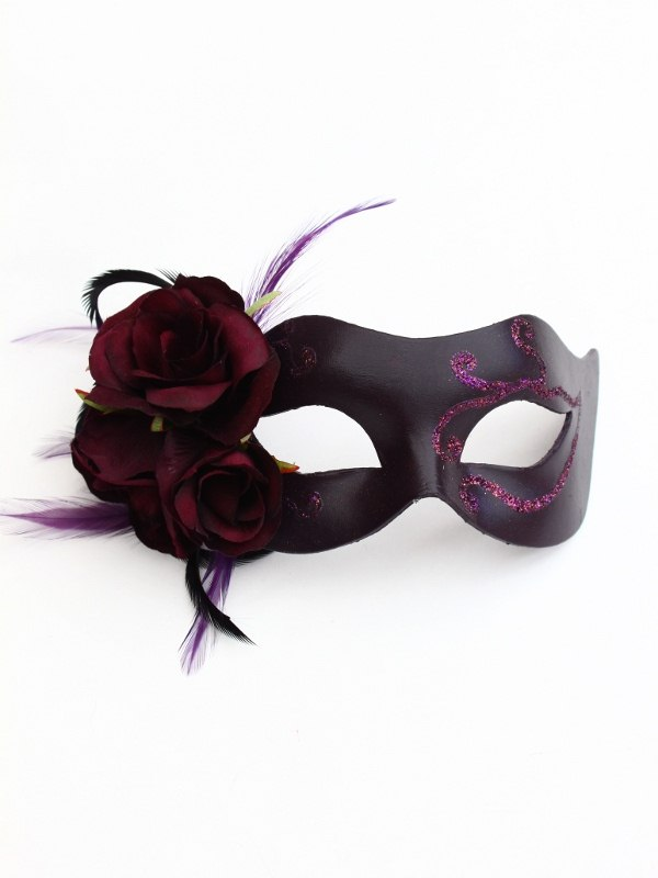 Gothic Purple Venetian Rose Mask