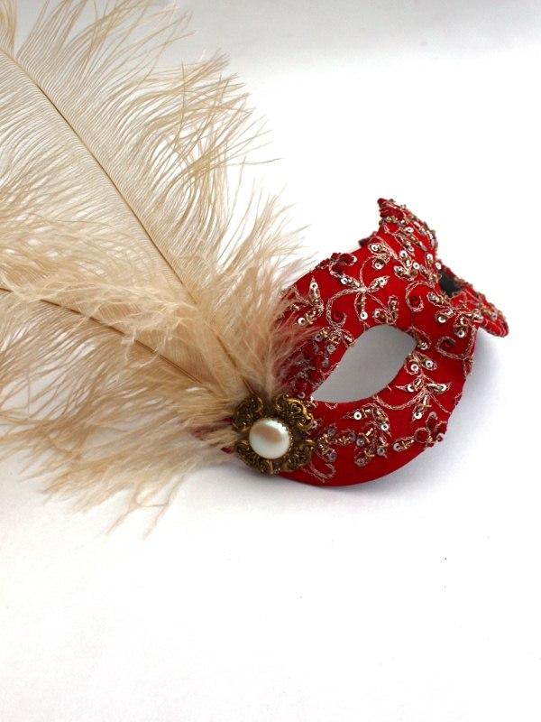 Luxury Red & Gold Venetian Mask