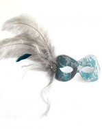 Luxury Silver & Teal Lace Eye Mask