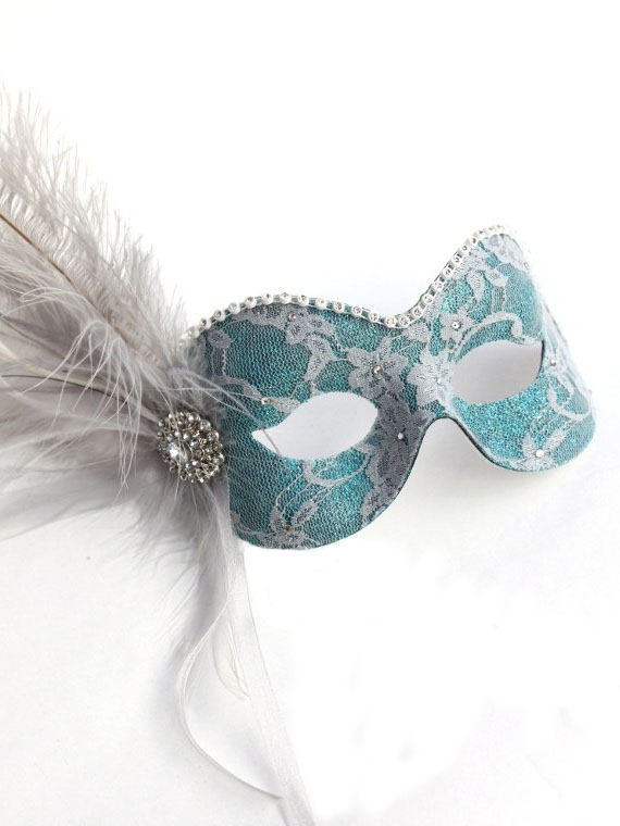 Womens Teal amp Silver Lace Feather Masquerade Eye Mask
