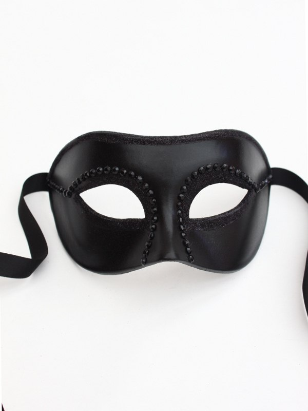 Mens Fashion Black Studded Venetian Mask c